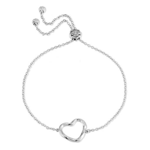 Twisted Heart Bracelet Rhodium Over Sterling Silver