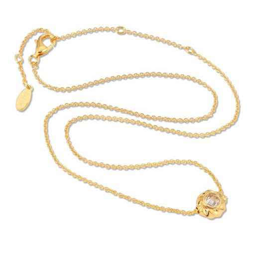 18K Gold over Sterling Silver Necklace with CZ Twisted Orb