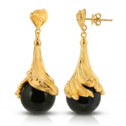 Black Agate & Diamond 18K Gold plated St. Silver Earrings