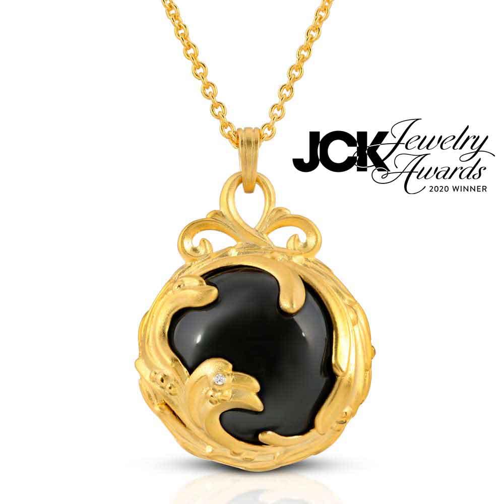 Black Jewel Black agate diamond 18k Gold plated silver front side JCK Jewelry Awards 2020 Winner