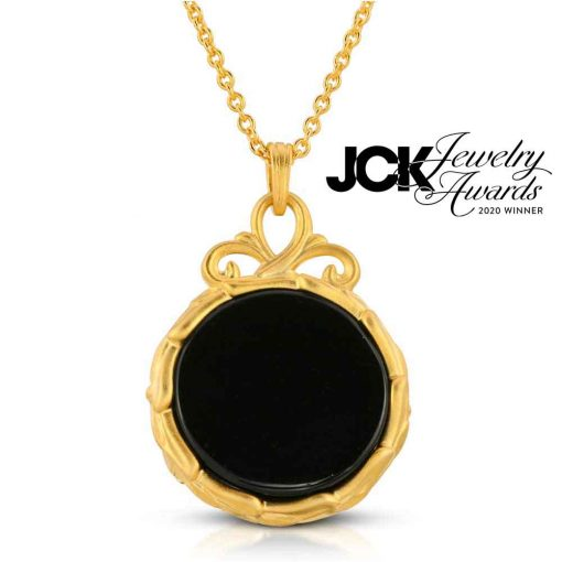 Black Jewel Black agate diamond 18k Gold plated silver back side JCK Jewelry Awards 2020 Winner