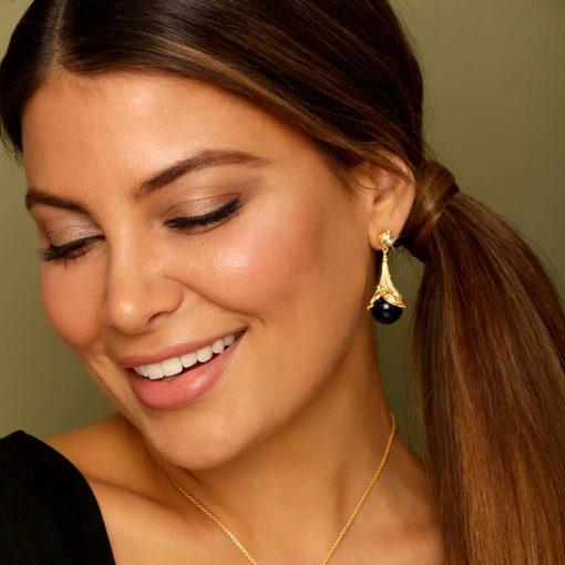 Black Agate & Diamond 18K Gold plated St. Silver Earrings