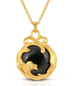 Black Jewel Black agate diamond 18k Gold plated st. silver pendant necklace