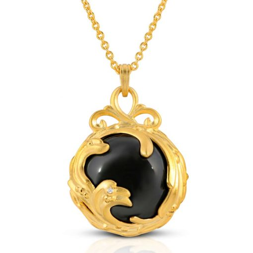 Black Jewel Black agate diamond 18k Gold plated st. silver pendant necklace