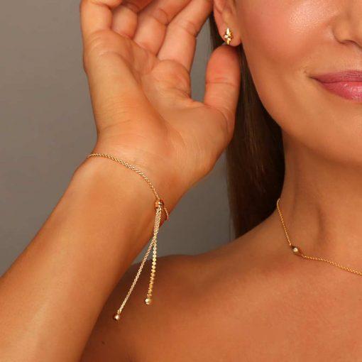 Shiny Star Bracelet 18K Gold Over Sterling Silver