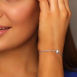 Shiny Star Bracelet Rhodium Over Sterling Silver