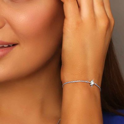 Shiny Star Bracelet Rhodium Over Sterling Silver as a jewelry to wear at job interview