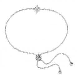 Shiny Star Bracelet Rhodium Over Sterling Silver