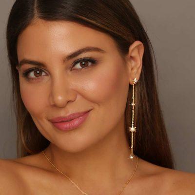 Shiny Stars Drop Earrings 18K Gold over St. Silver