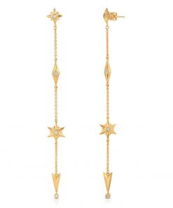 Shiny Stars Drop Earrings 18K Gold over St. Silver