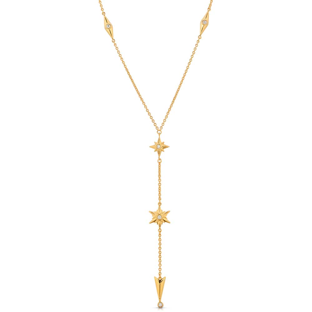 Shiny Stars Drop Y Necklace 18K Gold over St. Silver_a