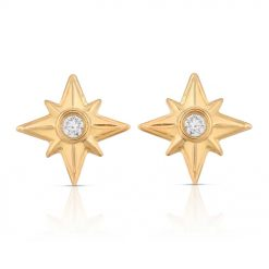 Shiny Stars Stud Earrings 18K Gold over St. Silver