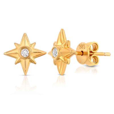 Shiny Stars Stud Earrings 18K Gold over St. Silver