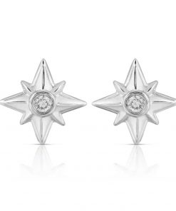 Shiny Stars Stud Earrings Rhodium over St. Silver