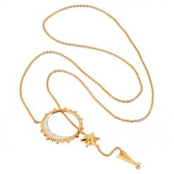 Sun, Moon & Stars Lariat Drop Necklace 18K Gold over St. Silver