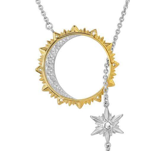 Sun, Moon & Stars Lariat Drop Necklace Rhodium over St. Silver