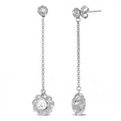 Sterling Silver Earrings Rhodium Plated CZ Twisted Orbs