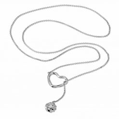 Twisted Heart & Orb Necklace Rhodium over Sterling Silver