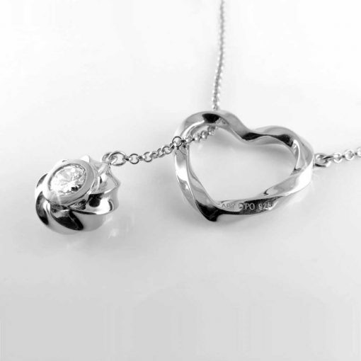 Twisted Heart & Orb Necklace Rhodium over Sterling Silver, 2 clear diamond cut CZ stones on the orb