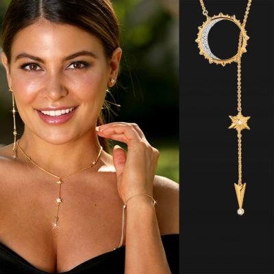 Beautiful girl wearing ARY D'PO Shiny Stars 18k Gold over Sterling Silver Necklace, adjustable Bracelet, asymmetric Earrings