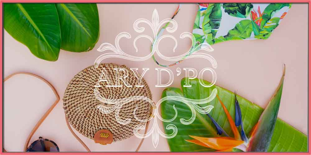 6 Cute and Trendy Style Ideas For Summer 2020, swim suet, green banana leafs summer rattan bag and ARY DPO designer jewelry logo