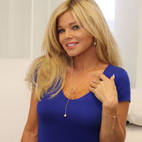 "Donna D'Errico Actress, Producer, Director, Model, among many movies, TV Shows, Videos, also famous for ""Baywatch"", wearing twisted heat and orb lariat necklace 18k gold over sterling silver designed by ARY D'PO"