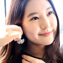 Magan Lee, best known for her lead role as Sun-Hi in Nickelodeon's hit TV show, presenting ginkgo leaf after rain earrings Rhodium plated, matt with polished droplets representing wather drops, designed by ARY D'PO