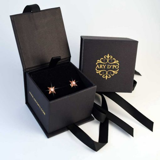 Shiny Stars Stud Earrings 18K Rose Gold over Sterling Silver in the box with ARY D'PO logo