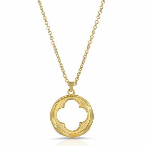 Four Leaf Clover Pendant-Necklace 18K Gold over Sterling Silver