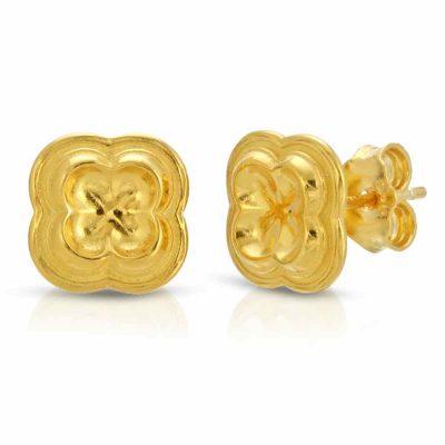 Four Leaf Clover Stud Earrings 18K Gold over .925 Sterling Silver