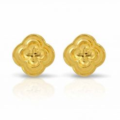 Four Leaf Clover Stud Earrings 18K Gold over .925 Sterling Silver