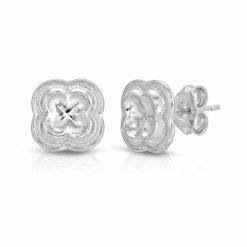 Four Leaf Clover Stud Earrings Rhodium over .925 Sterling Silver Quadrofoil element from Palazzo Santa Sofia Ca' D'Oro