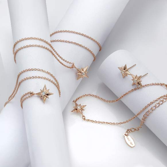 Shiny Star Bracelet Earrings Pendant Necklace 18K Rose Gold Over Sterling Silver