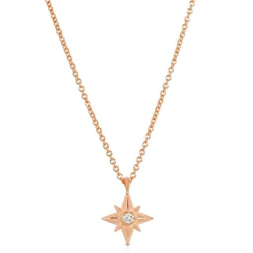 Shiny Star Necklace 18K Rose Gold Over Sterling Silver