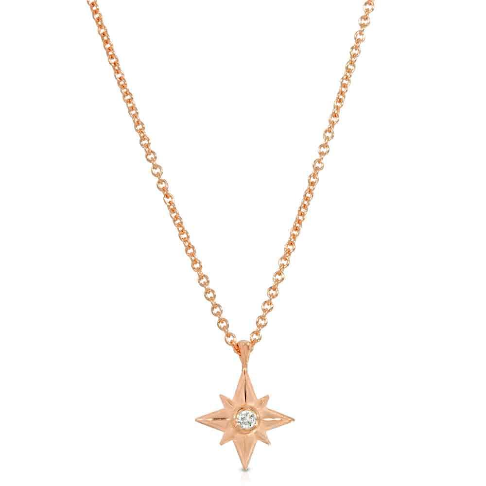 Shiny Star Necklace 18K Rose Gold Over Sterling Silver