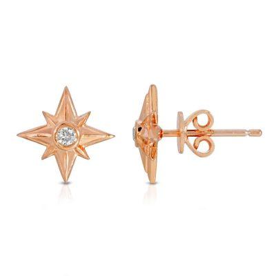 Shiny Stars Stud Earrings 18K Rose Gold over Sterling Silver