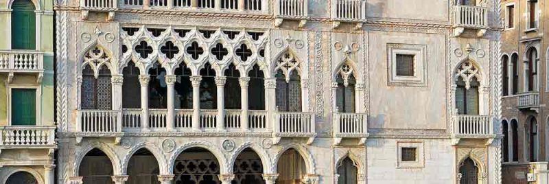 four leaf clover or Quatrefoil elements on Ca' d'Oro museum in Italy