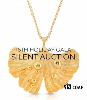 14K Gold Plated Pendant Necklace Ginkgo Leaf After Rain 16th holiday gala silent auction GOAF