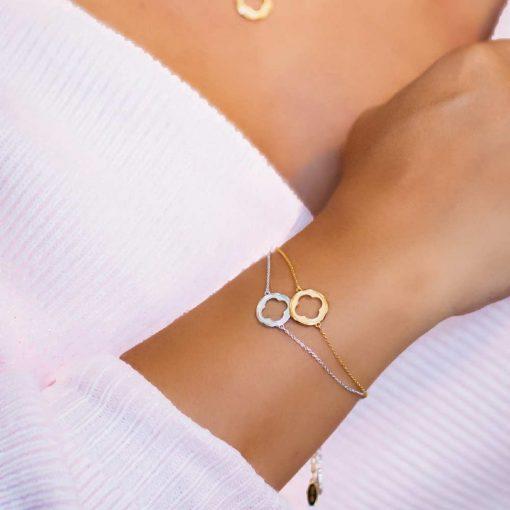 Bracelet 18K yellow gold over .925 sterling silver Quatrefoil