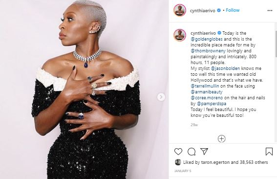 Cynthia Erivo wearing Tom Browne sequinned gown and Blvgari necklace