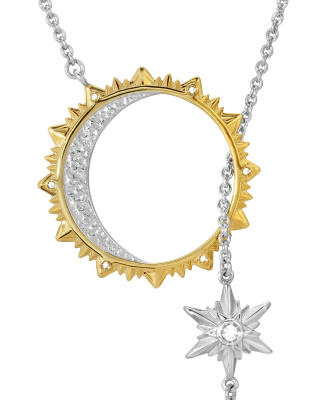 Sun, Moon, Star 18K gold and rhodium plated sterling silver lariat necklace by ARY D'PO as symbolic jewelry