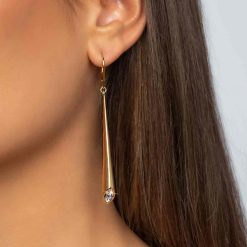 18K Gold Plated Leverback Earrings Urban Marquise with White Swarovski crystal