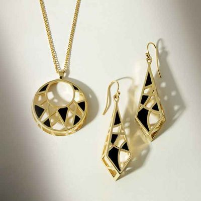 Dream Collection Gold with black enamel pendant and earrings