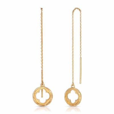 Four Leaf Clover Threader Earrings Gold over .925 Silver