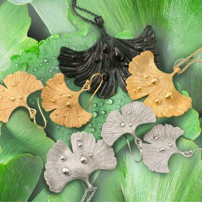 Ginkgo Leaf After Rain Pendant-Necklace and earrings plated in 14k gold, rhodium and black jet rhodium on green ginkgo leafs with wather droplets