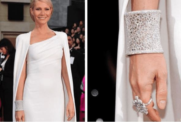Gwyneth Paltrow at the 2012 Oscars in a million-dollar diamond cuff bracelet featured in the ARY D'PO blog on How Stylists Make Statement Jewelry Shine At Fashion Events