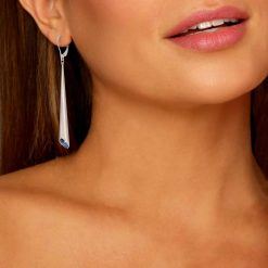 Rhodium Plated Leverback Earrings Urban Marquise with Blue Swarovski crystal