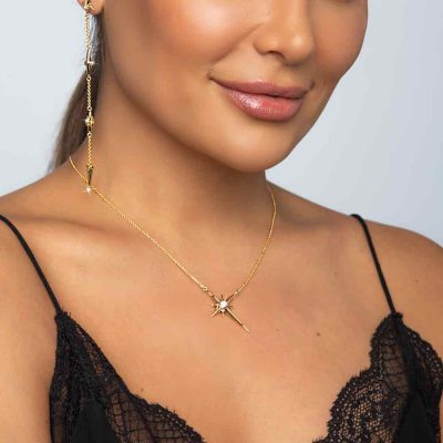 Shiny Star Polaris Necklace 18K Gold over Sterling Silver