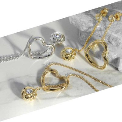 Twisted Hearts & Orbs ARY D'PO .925 sterling silver collection in 18K yellow gold and rhodium plated