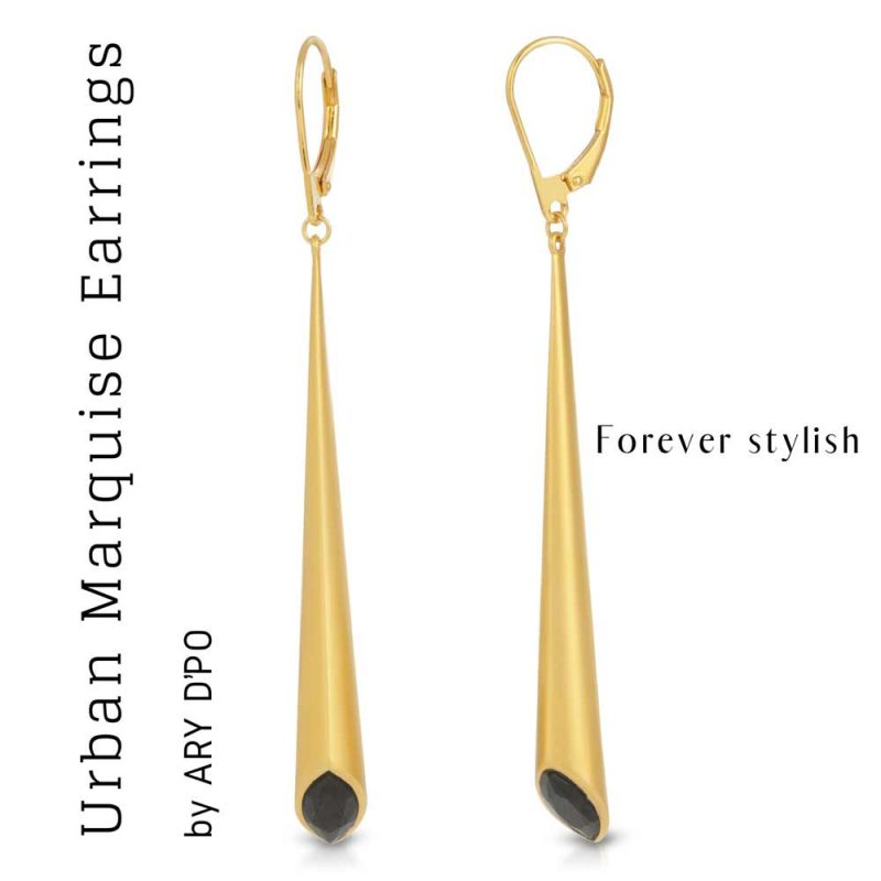 Urban Marquise Leverback Earrings by ARY DPO with Swarovsky crystals